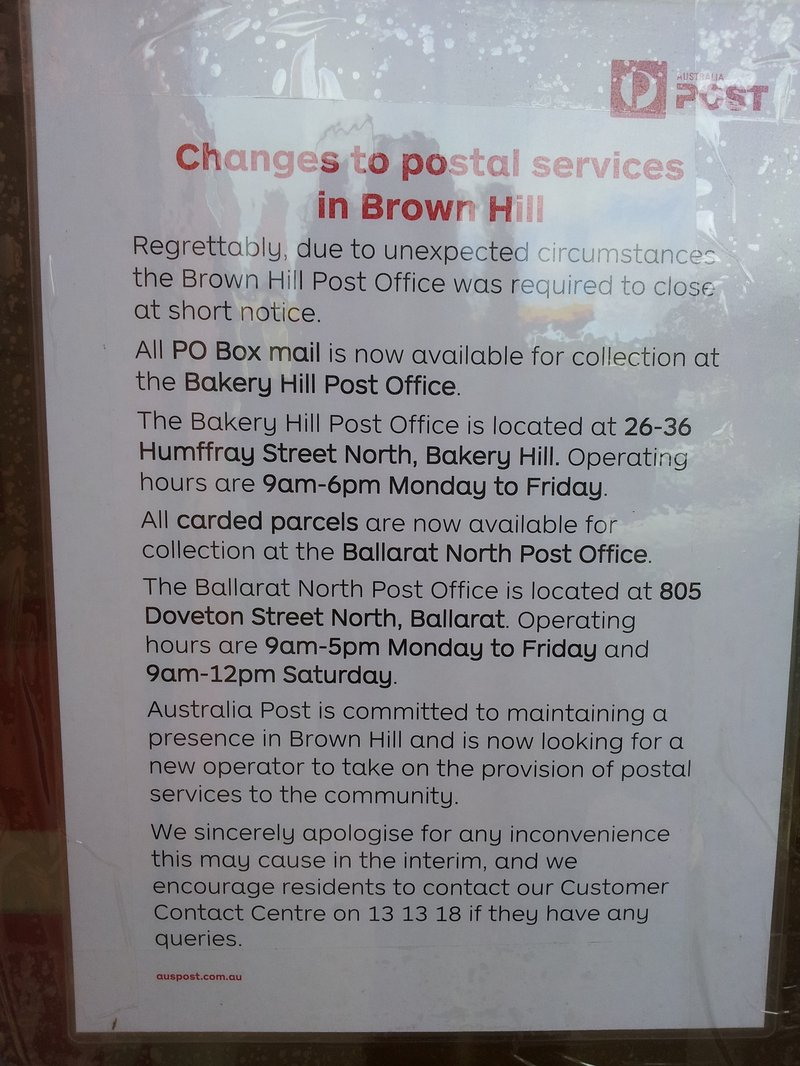 Brown Hill Post Office Closure August 2017