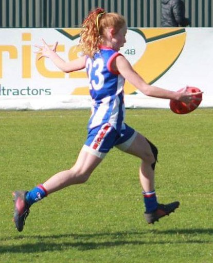 Caledonian Primary School student, Jovie, has had a stellar AFL season this year. Image taken by Danielle, Jovie's Mum.
