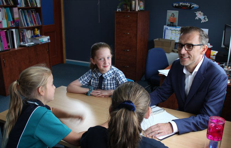 Mr Moody with Caledonian Primary School Students, February 2020